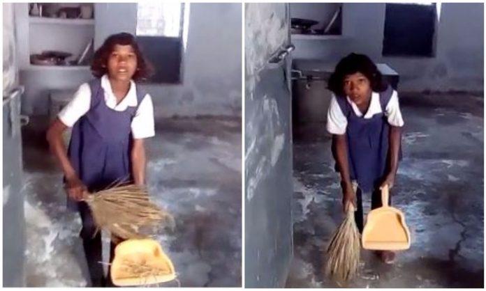 शर्मसार: स्कूल में पेन-पेंसिल की जगह मासूम हाथों में दिखी झाडू, देखें तस्वीरें